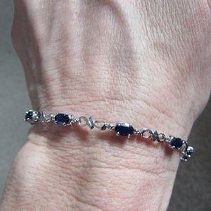 14k white gold sapphire and diamond tennis bracele
